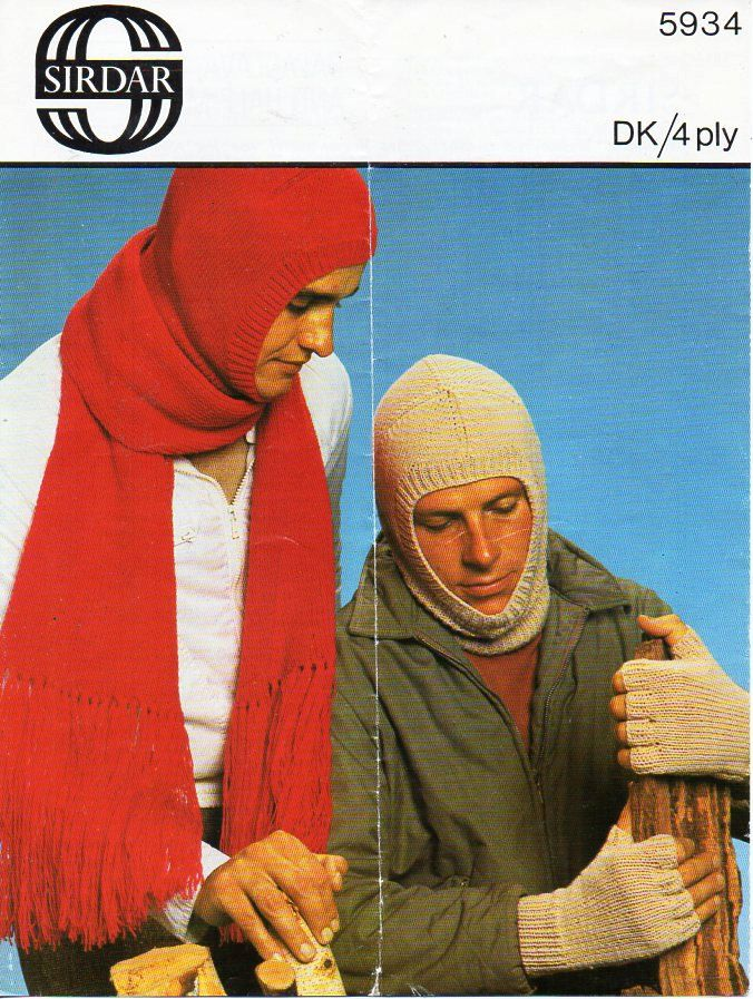 Lovely double knitting pattern for man/'s balaclava gloves and scarf hat