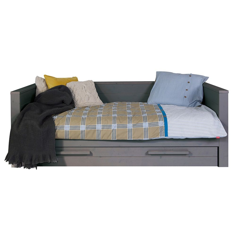 Dennis Day Bed In Steel Grey With Optional Trundle Drawer By Woood - Woood Bed Dennis
