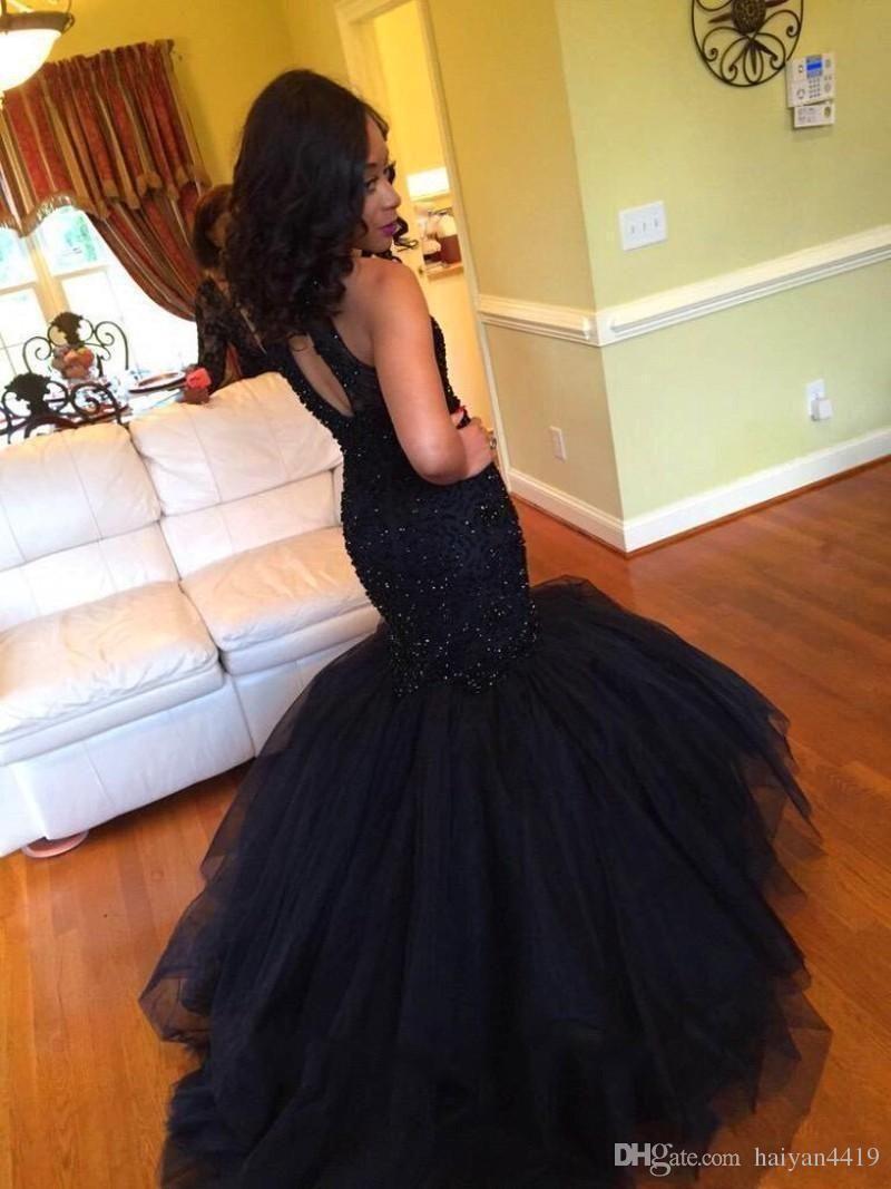 cheap k prom dresses high neck crystal beads long mermaid