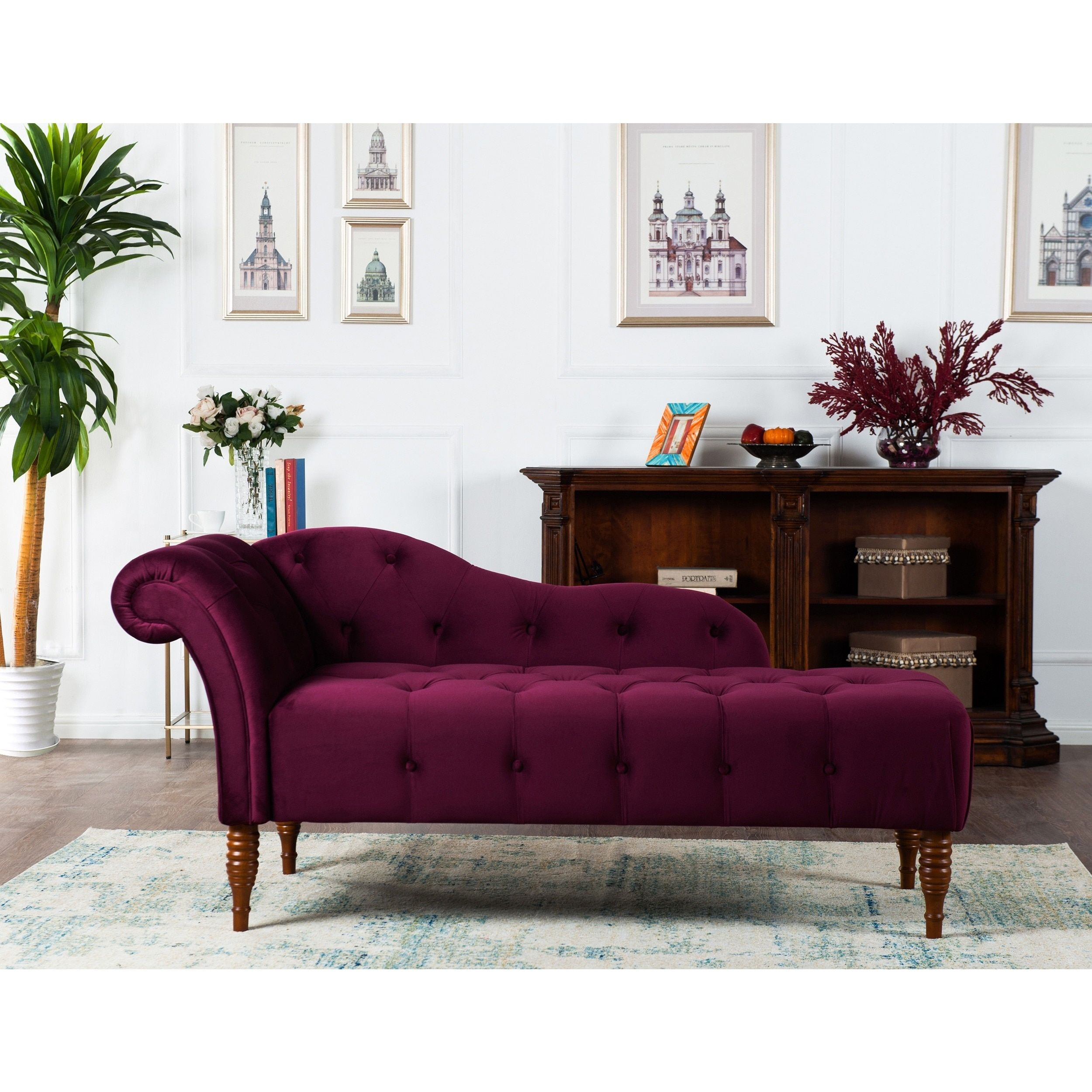 Jennifer Taylor Samuel Tufted Chaise Lounge (navy blue)   Sillones ...