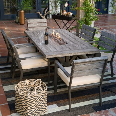 Five Piece Firepit Table Dining Set Google Search With Images Patio Dining Table Patio Dining Set Patio Decor