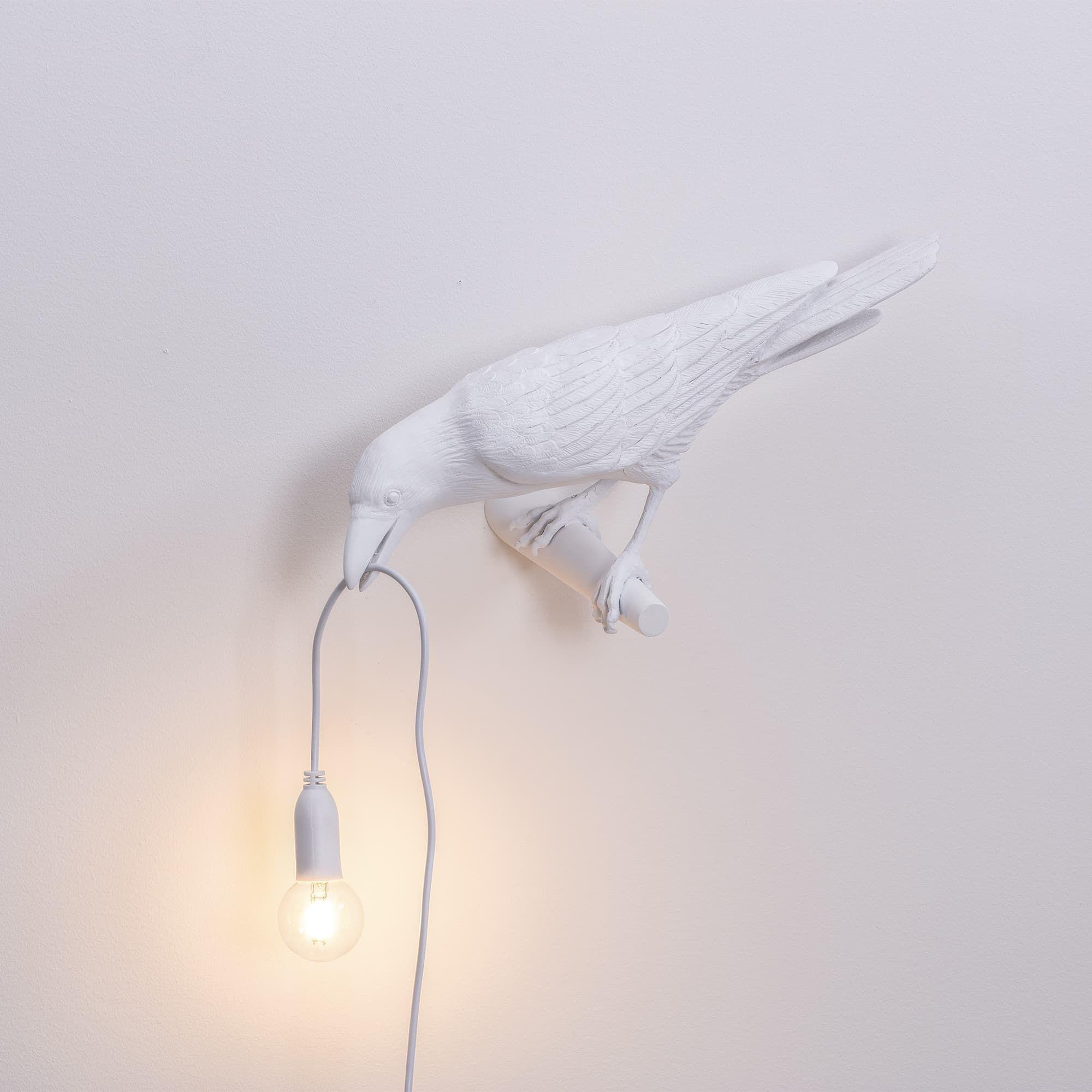 Résine D'oiseau Bird Lamp Forme Applique En Murale Blanc Looking 7yYb6vfg