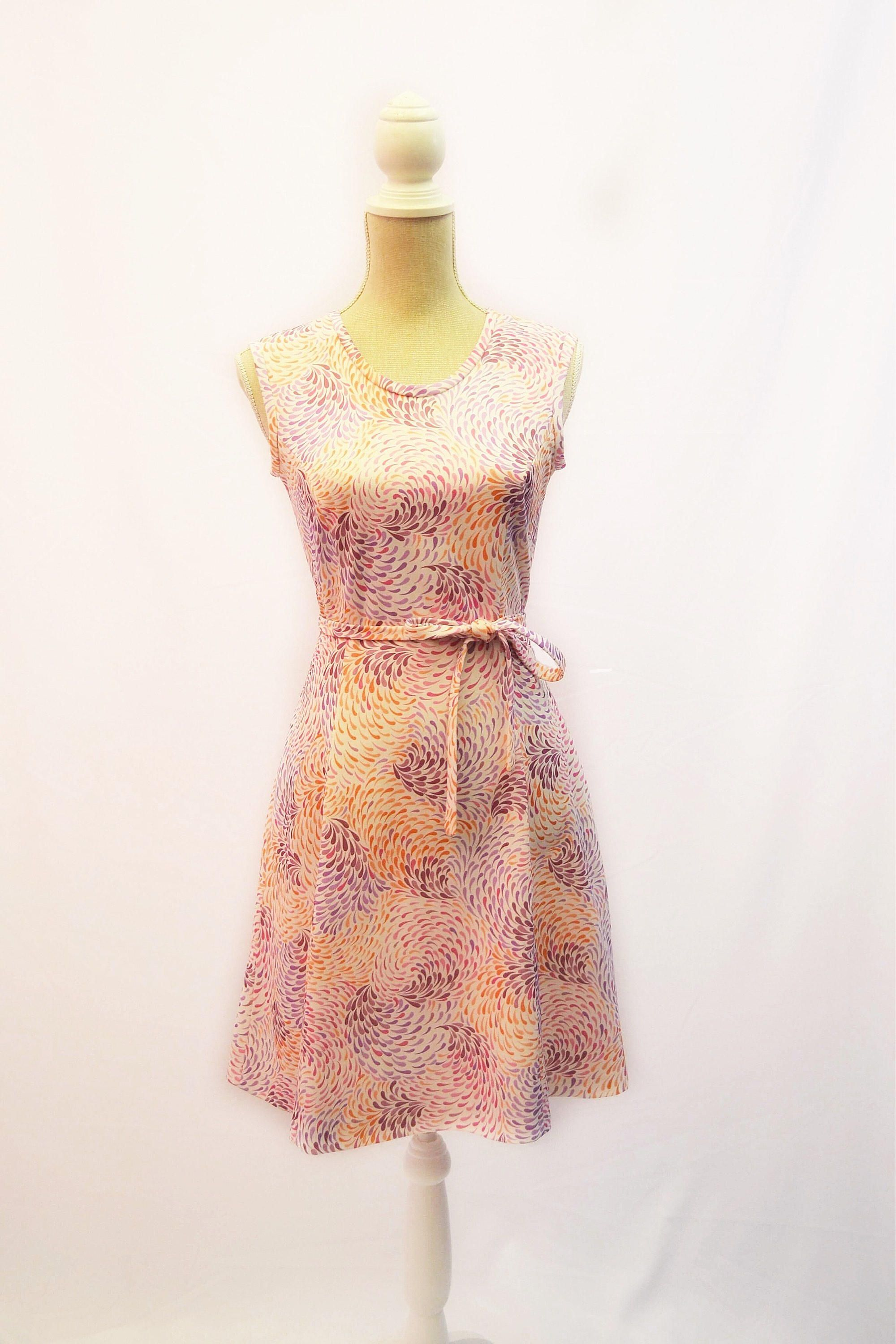 1970s shift day dress with Psychedelic pattern and belt by ...