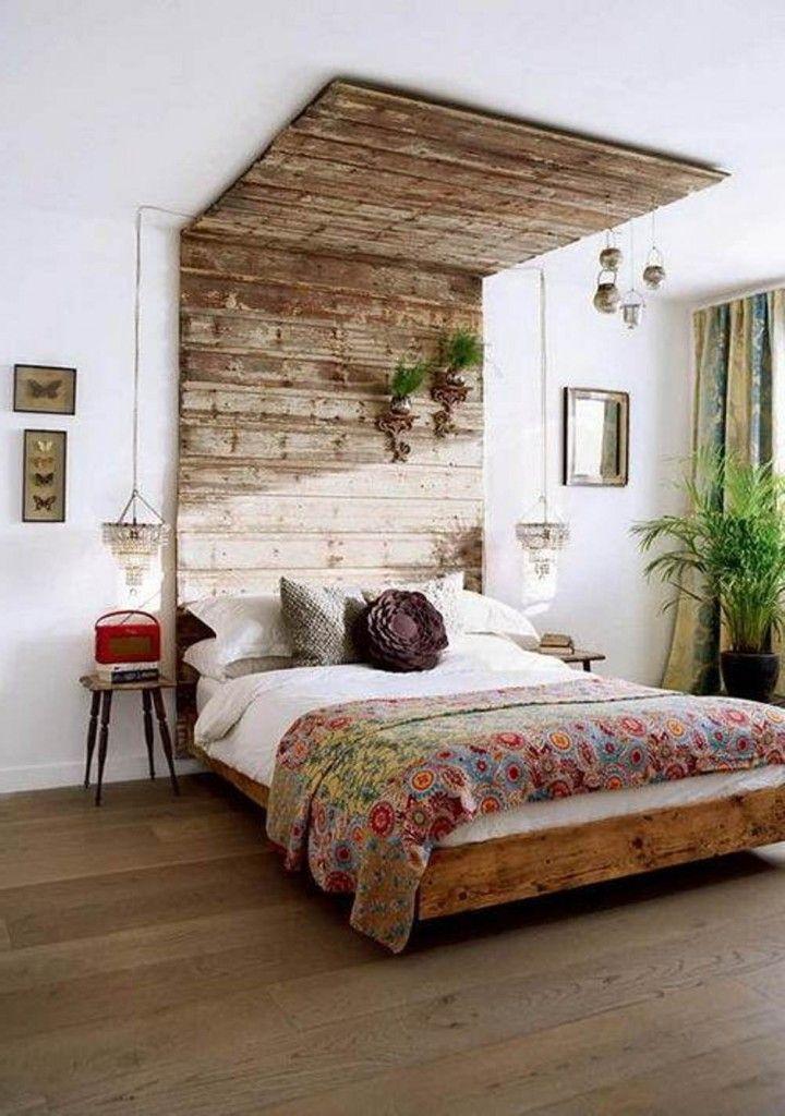 Boho Bedroom With Brown Wood Framed Bed