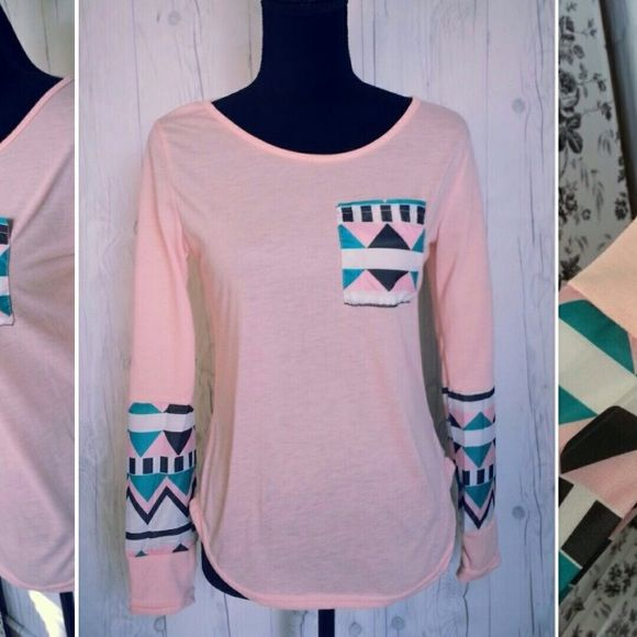 LAST ONE Pink Aztec spliced sleeve tee NWT Long sleeve cotton poly blend bodice. Nylon spliced sleeves and pocket.  Pink, teal, white... boutique Tops Tees - Long Sleeve