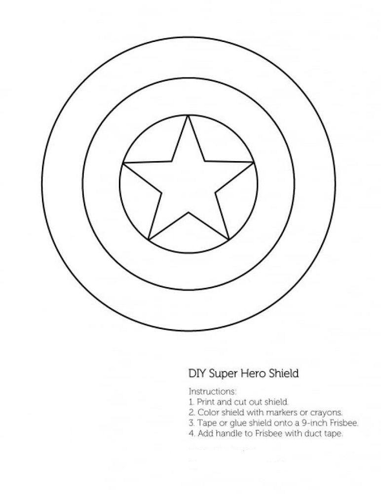 Captain America Shield Coloring Page Free Captain America