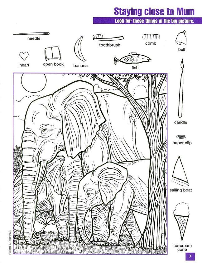 Para colorear y encontrar objetos escondidos | Hojas para colorear ...