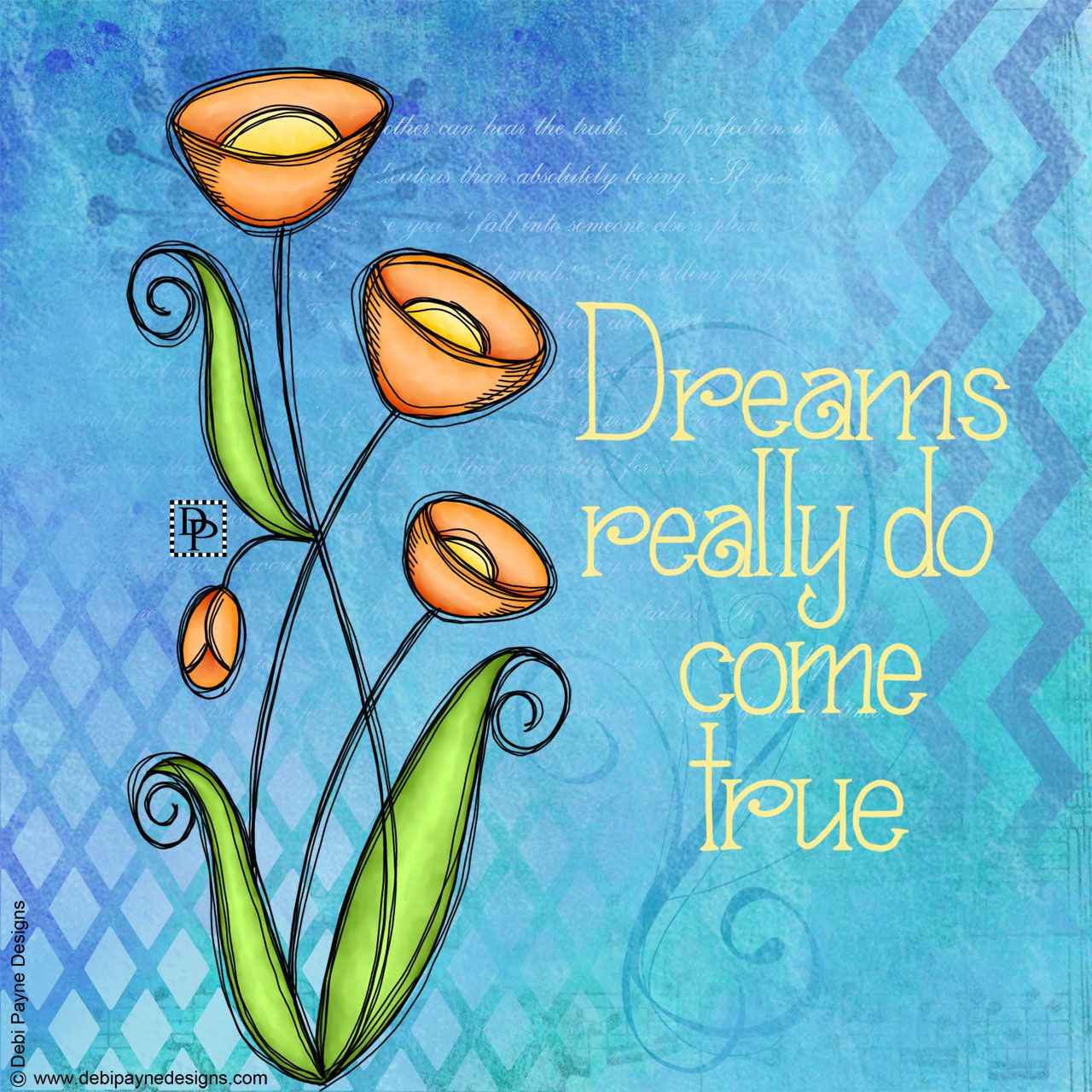Doodle Flowers With Mixed Media Background Featuring The Hand Lettered Text Dreams Really Do Come True Flower Doodles Mixed Media Art Journaling Art Journal