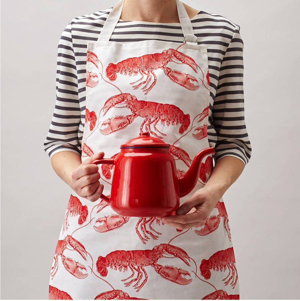 White apron cotton - Lobster Apron 100pct Cotton Red And White Apron Made In The Uk Machine Washable