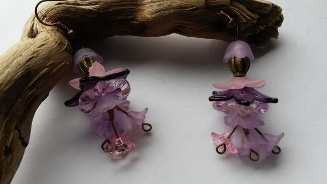 Earrings  Lucite Delight, in pinks and purples  £7.00
