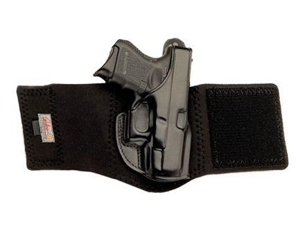 Galco Ankle Glove Holster Right Hand Glock 26, 27, 33 Leather with Neoprene Leg Band Black