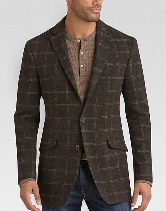 JOE Joseph Abboud Brown Plaid Slim Fit Sport Coat - Slim Fit ...