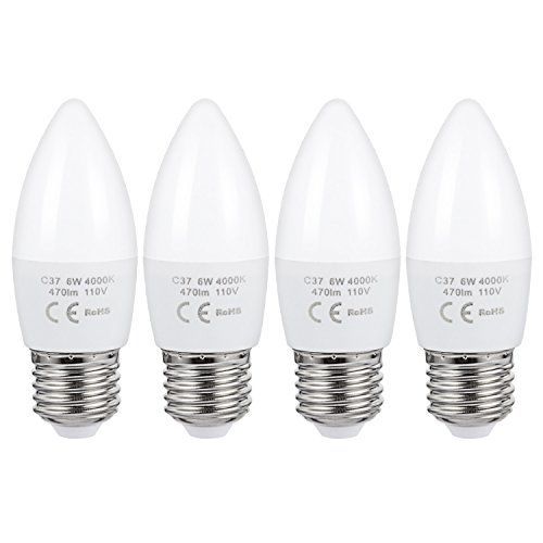 Aed Lighting 6 Watt Led Lights Candle E26 Light C37 Led Light Chandelier Bulbs Led Light Bulb Medium Screw Base 4000k Light Bulb Led Light Bulb Led Light Bulbs