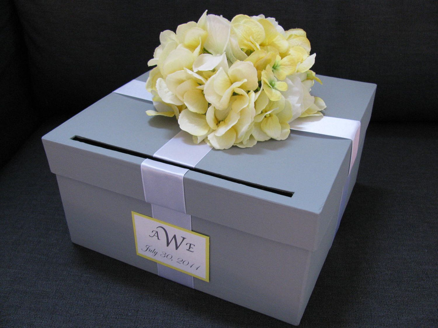 Gray wedding card box with yellow hydrangeas and personalized tag