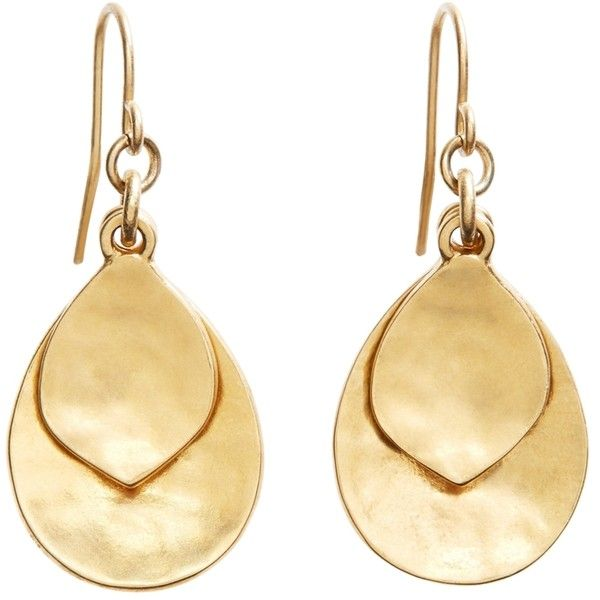 Brooks Brothers Gold Hammered Drop Earrings 49 Aud Liked On Polyvore Featuring Jewelry