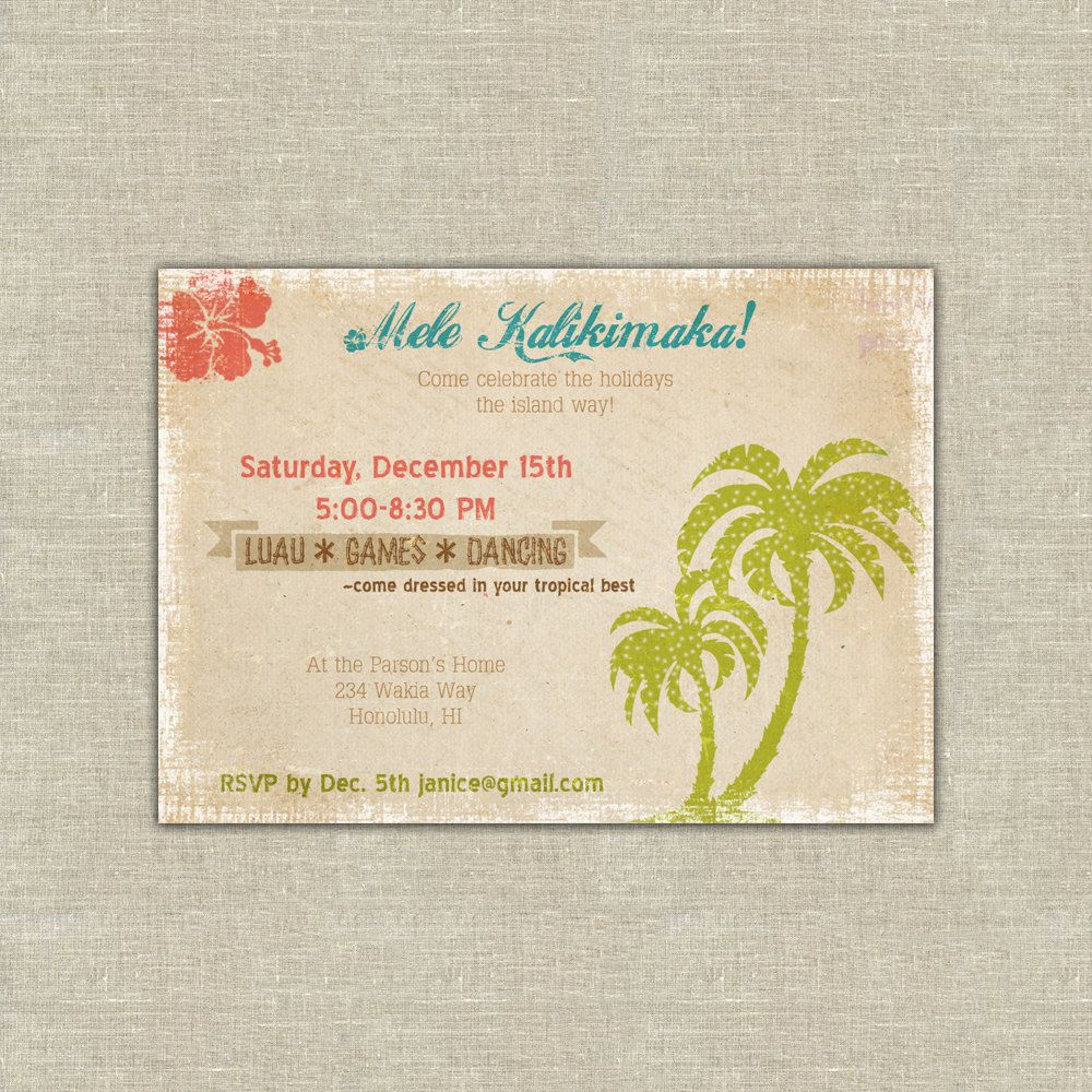 Printable Hawaiian Christmas party invitation, mele kalikimaka ...