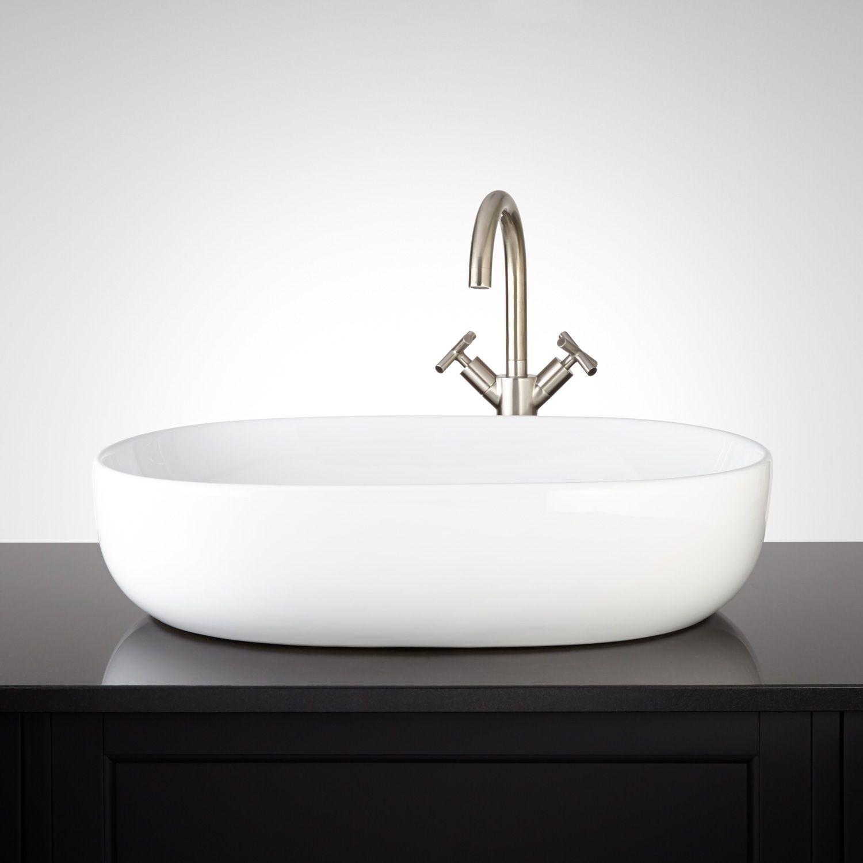 Presanella Oval Porcelain Vessel Sink Sink Bathroom Sink Drain Vessel Sink Bathroom