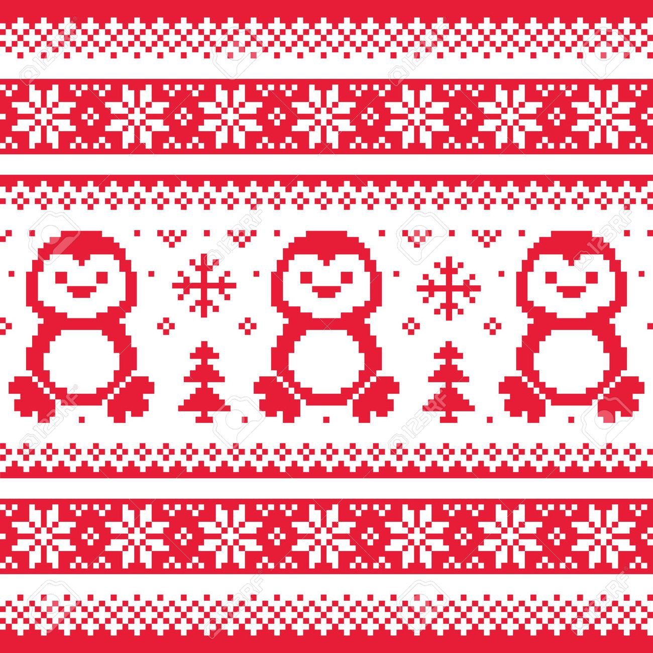 Christmas, winter knitted pattern with penguins - Scandinavian ...