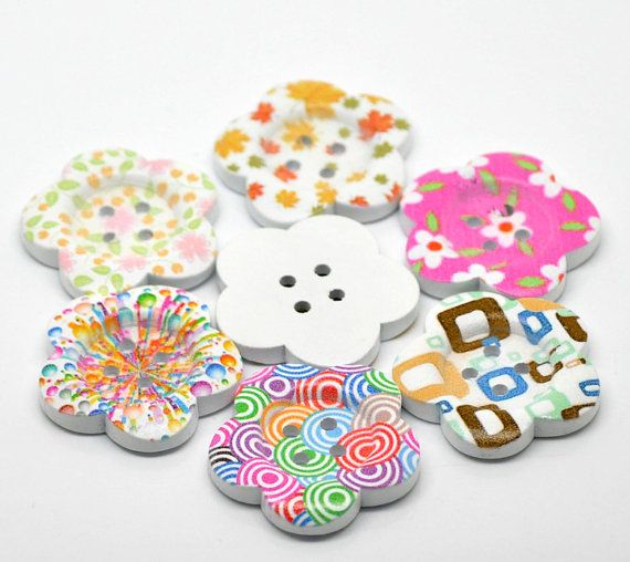 6 Large White Painted 4Hole WOOD FLOWER BUTTONS  by SmartParts, $2.99