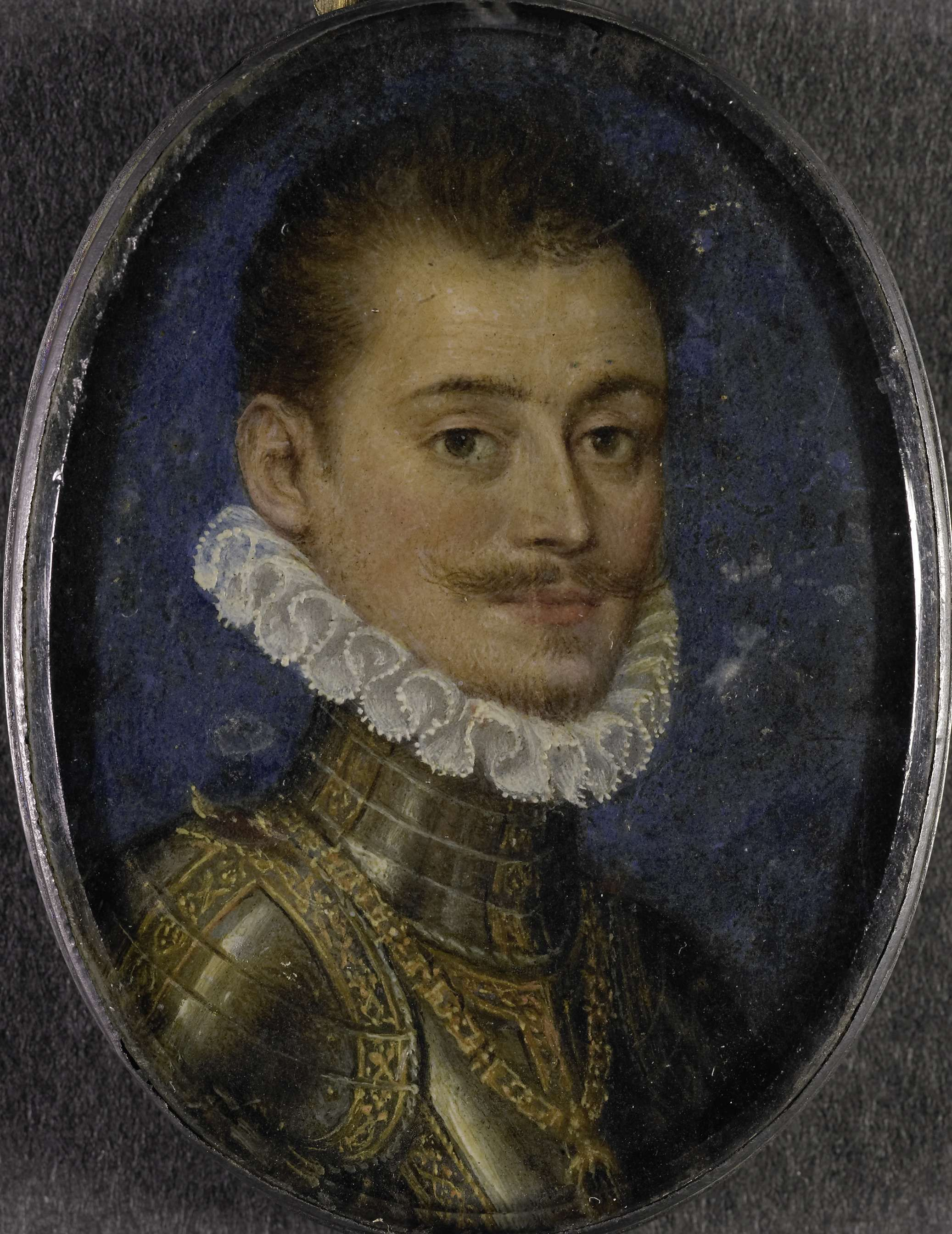 Anonymous | Don Juan van Oostenrijk (1547-87). Landvoogd der Nederlanden, Anonymous, 1560 - 1580 | Portret van Don Juan van Oostenrijk (1547-87). Landvoogd der Nederlanden. Buste, naar rechts, aanziend, in wapenrusting. Onderdeel van de collectie portretminiaturen.