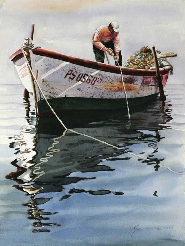 Peruvian Fisherman Watercolor Painting Marine Reflections Iv