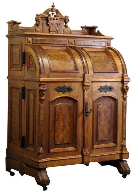 antique renaissance revival wooten desk ca 1875 wooden nickel antiques cincinnati ohio