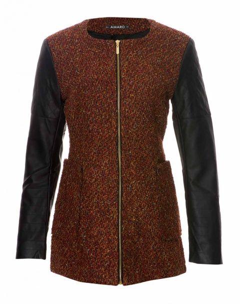 AMARO   Casaco Tweed Leather