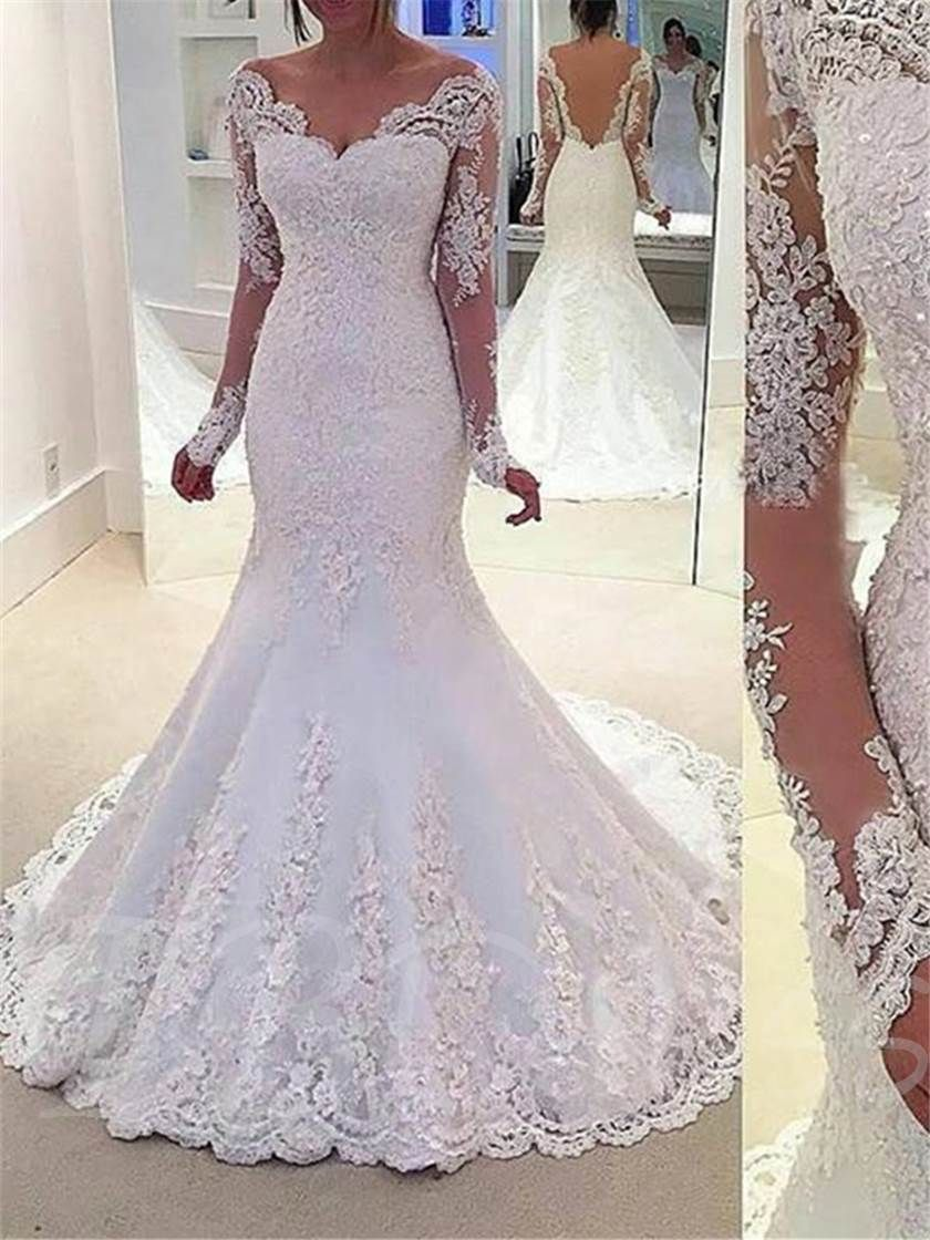 Appliques mermaid long sleeve wedding dress adrienne wedding