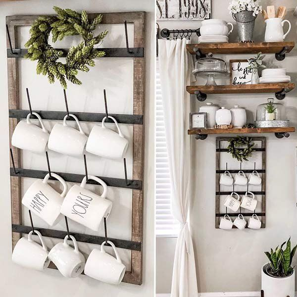 Wall Mounted Wood Framed Cup Rack - Wall Rack Cup Holder