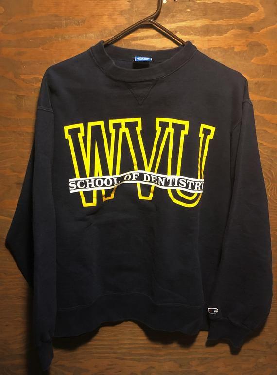 Vintaeg 80s West Virginia University Mountaineers WVU School of Dentistry 1980s Blue Champion Crewne #wvumountaineers