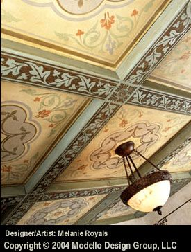 Love These Coffer Stencils Painted Ceiling Ceiling Design