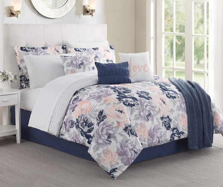 Living Colors Tea Rose Pink Blue Queen 12 Piece Comforter Set Comforter Sets Pink Comforter Blue Comforter
