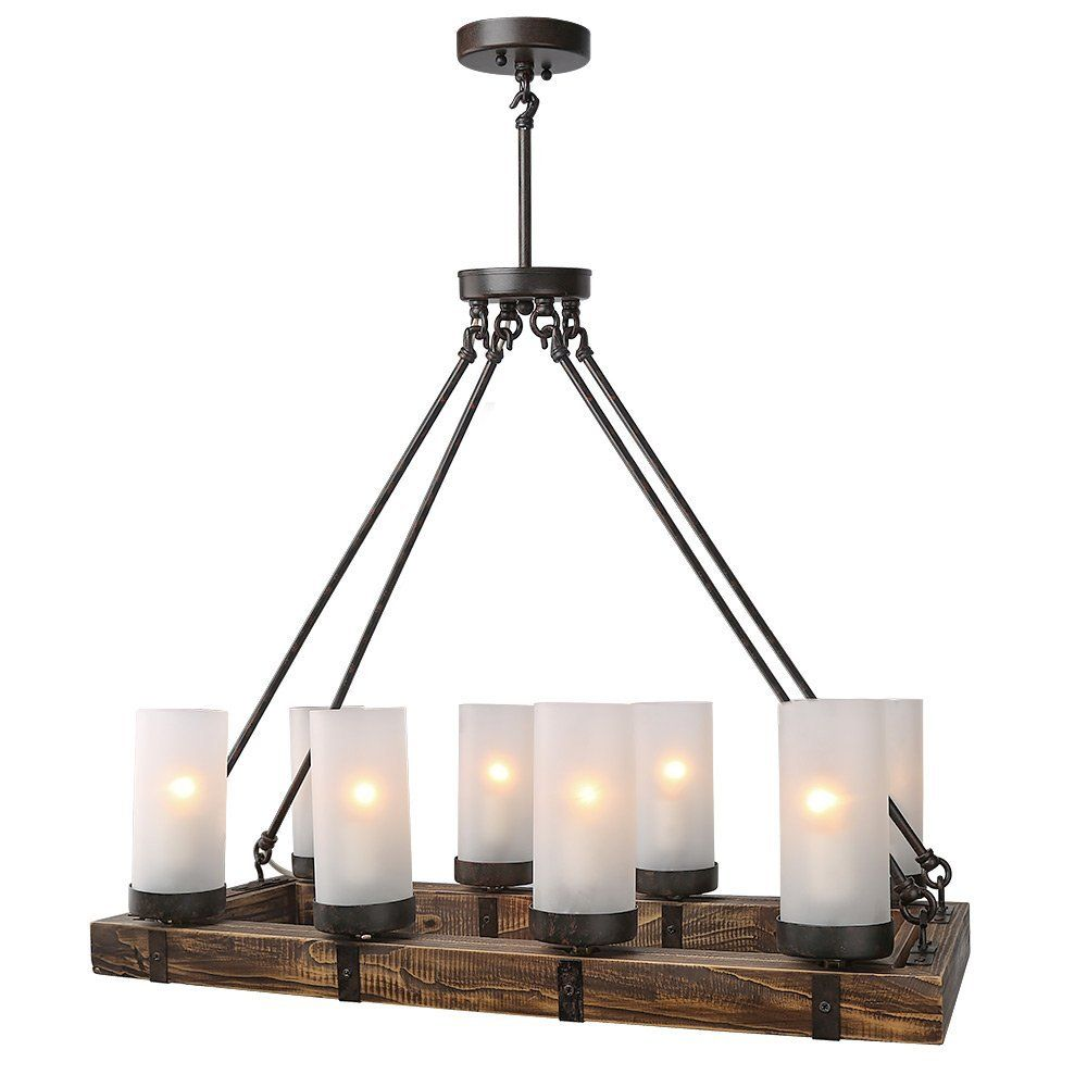 Lnc Wood Chandeliers Kitchen Island Chandelier Lighting 8 Light Pendant Lights Craftsman Style Farmhouse Décor Rustic Country We Are A