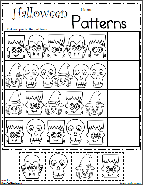 Halloween Patterns (Cut and Paste | HALLOWEEN ACTIVITIES | Pinterest ...