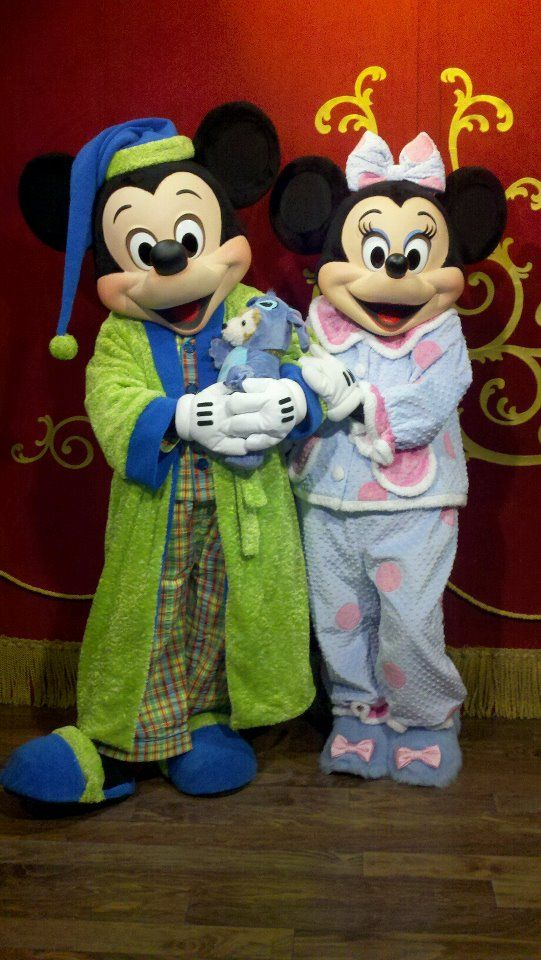 Mickey Mouse and Minnie Mouse in their pajamas in Town ...