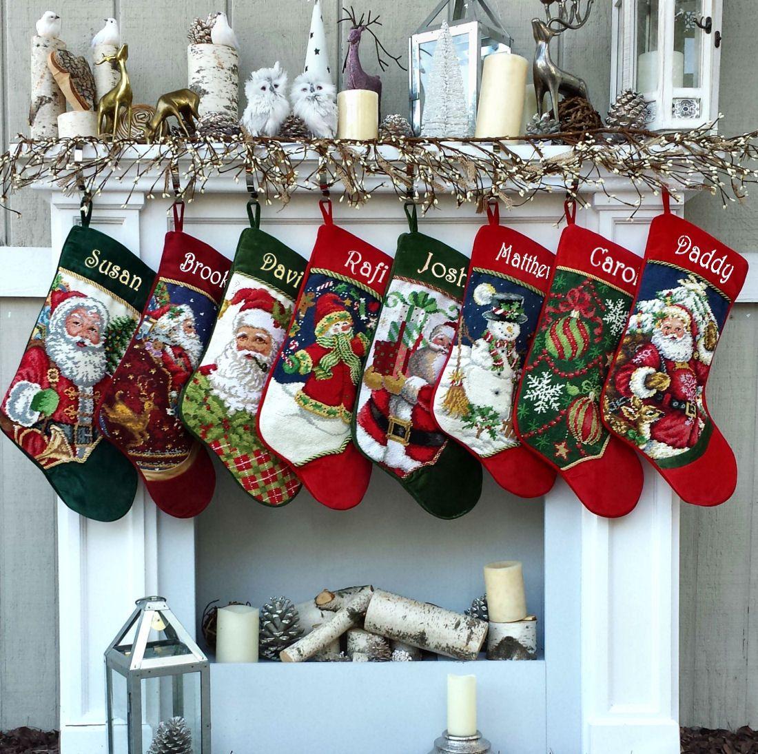 Personalized Needlepoint Christmas Stockings - Santa, Snowman ...