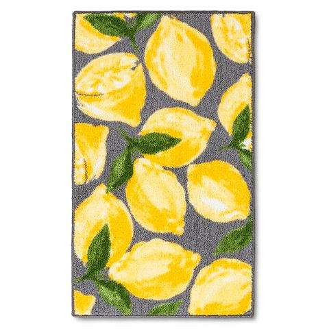 Threshold Lemons Kitchen Rug Gray Yellow Lemon