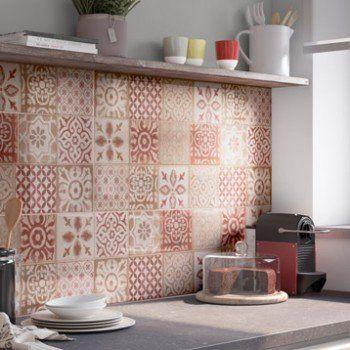 Faïence mur rouge, Decor haussmann l.25 x L.76 cm | Leroy ...