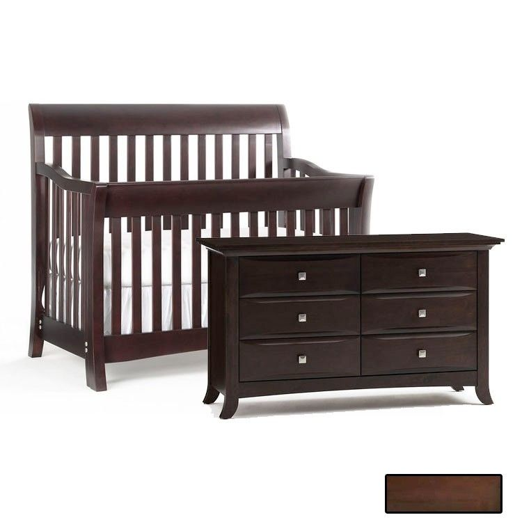 Bonavita Metro 2 Piece Nursery Set In Chocolate Crib And Double Dresser