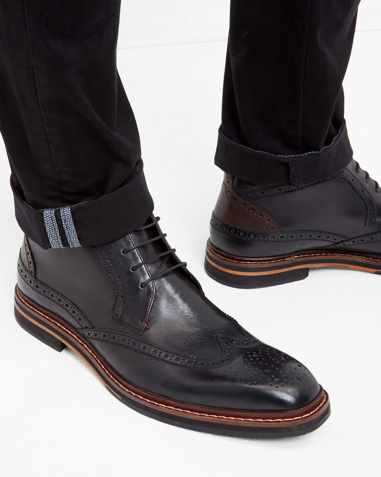 Leather brogue boots - Black   Shoes