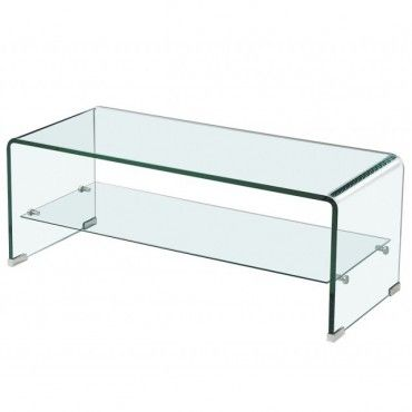 Modern Bent Glass Coffee Table With Shelf Culture Coffee Table