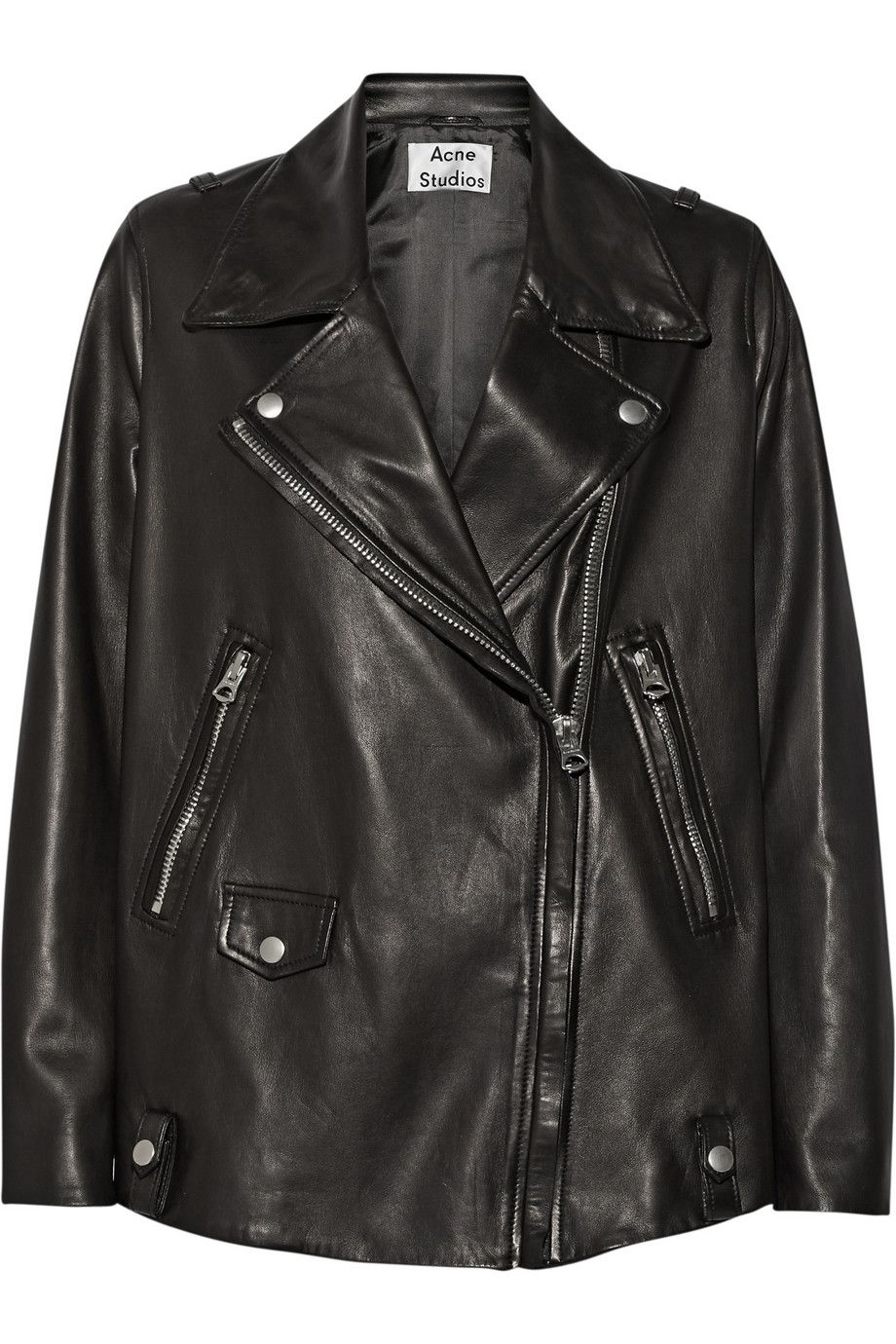 Black Swift Light oversized leather biker jacket Acne