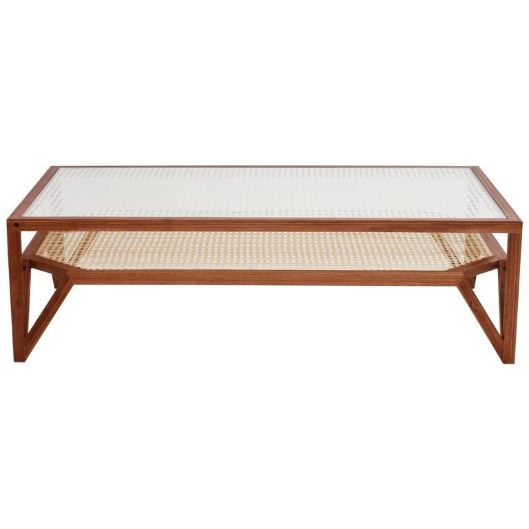 Coffee Table In Hardwood And Woven Cane Contemporary Design By O