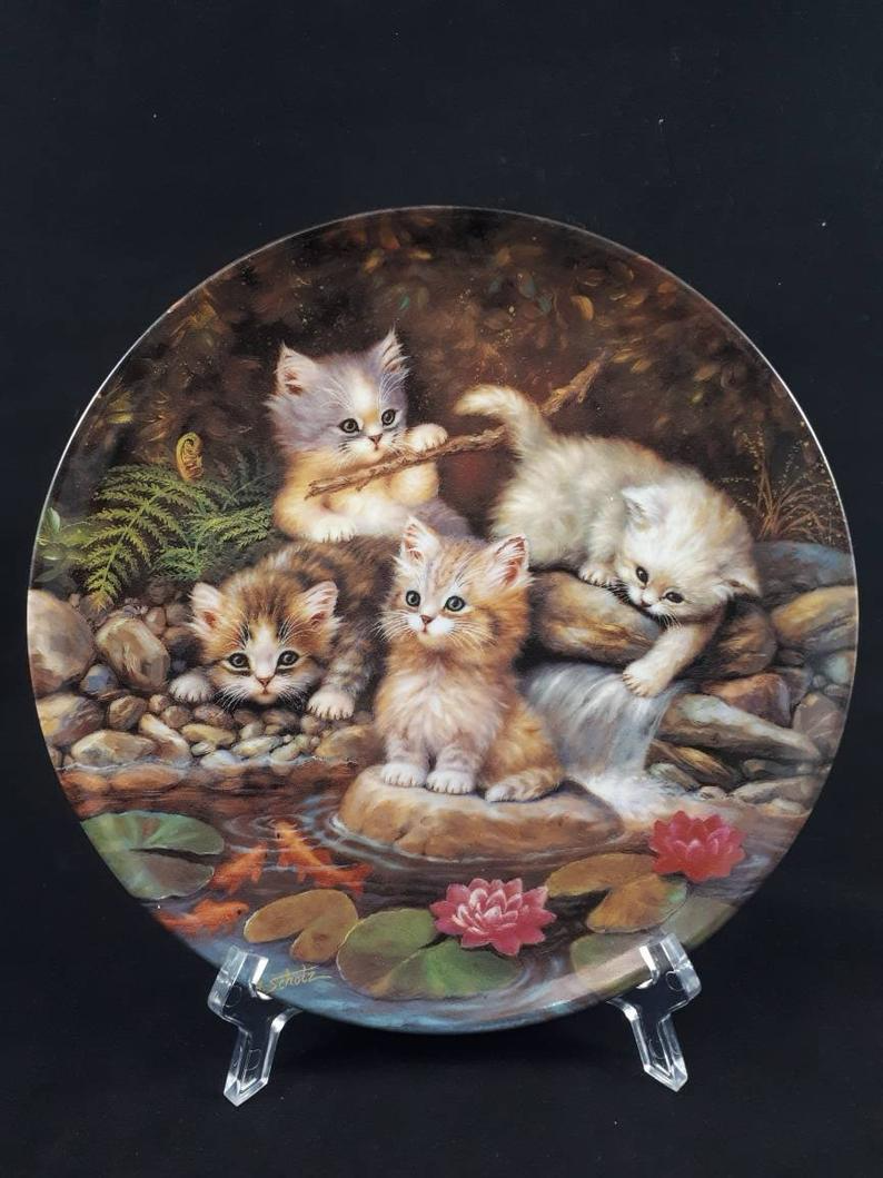 Bradford Exchange Plate Kittens Collector Plate Vintage Etsy Etsy Vintage Kittens Art