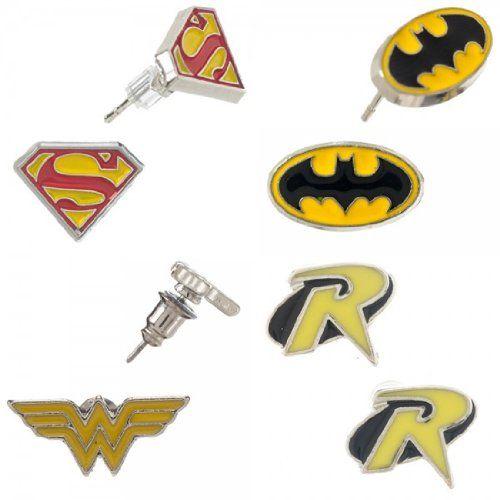 Dc Comics Batman Robin Superman Wonder Woman Ear Ring Set @ niftywarehouse.com