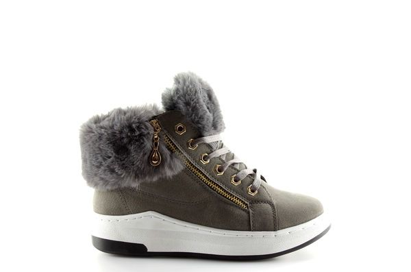 Ocieplane Buty Sportowe Szare 16 529 Grey Wedge Sneaker Shoes Sneakers