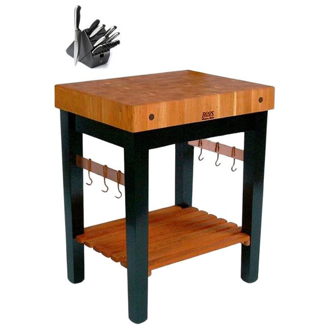 John Boos RN-PPB2424 Block Table End Grain Cherry Top Base 24x24 and Henckels 13 Piece Knife Set