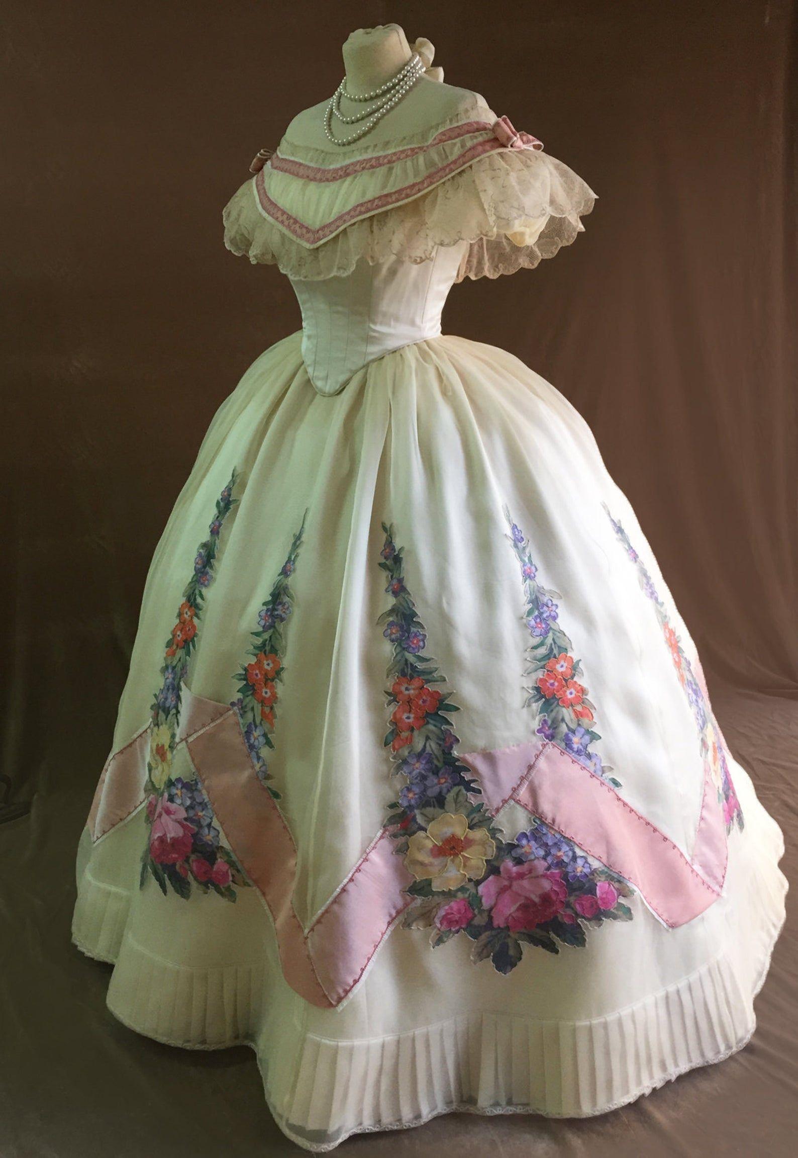 1860s Ballgown Victorian Dress Etsy Victorian Dress Victorian Clothing 1860s Ballgown [ 2303 x 1588 Pixel ]