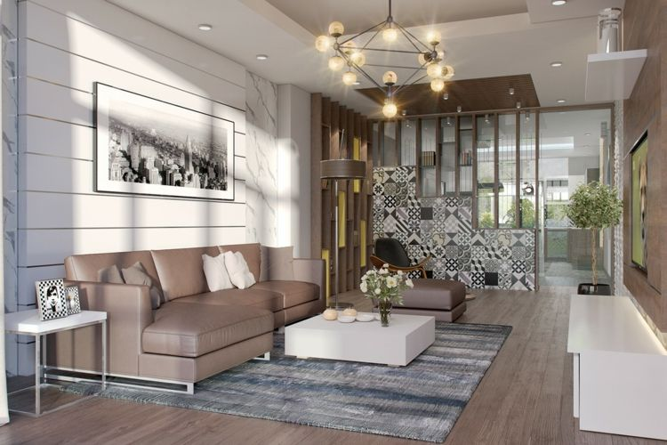 Farbkombination grau braun wei im wohnzimmer stilvolle for Einrichtungsbeispiele wohnzimmer