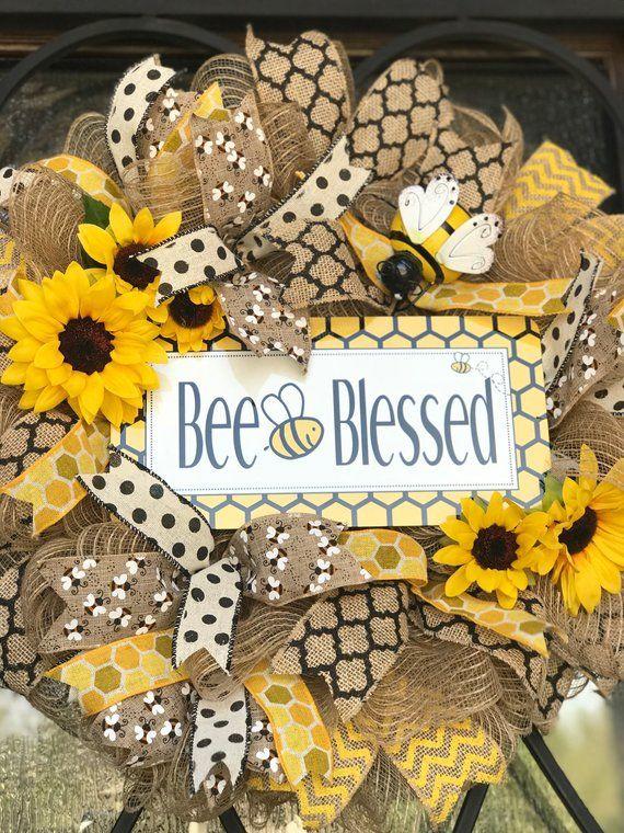 Photo of burlap Bumble bee wreath, bumblebee bee blessed, summer wreath, burlap sunflower wreath for door, yellow, Christian front door wreath
